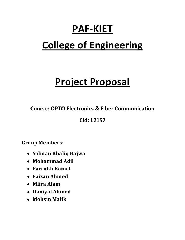 PAF-KIET      College of Engineering           Project Proposal  Course: OPTO Electronics & Fiber Communication           ...