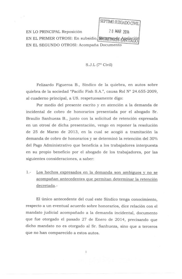 Pafco 2014, escrito del síndico de reposicion y apelación a retención, 28 03-2014