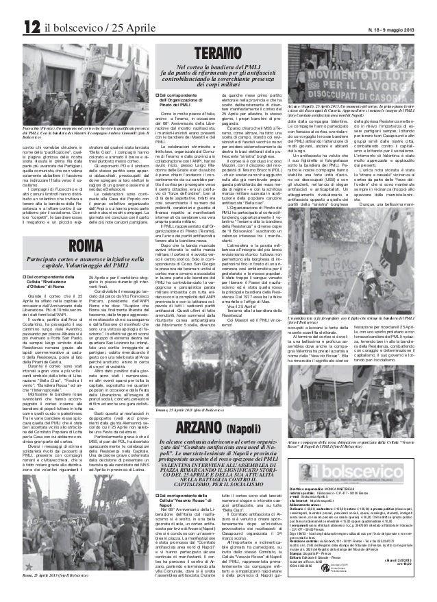 12 il bolscevico / 25 Aprile N. 18 - 9 maggio 2013 ROMA Partecipato corteo e numerose iniziative nella capitale. Volantina...