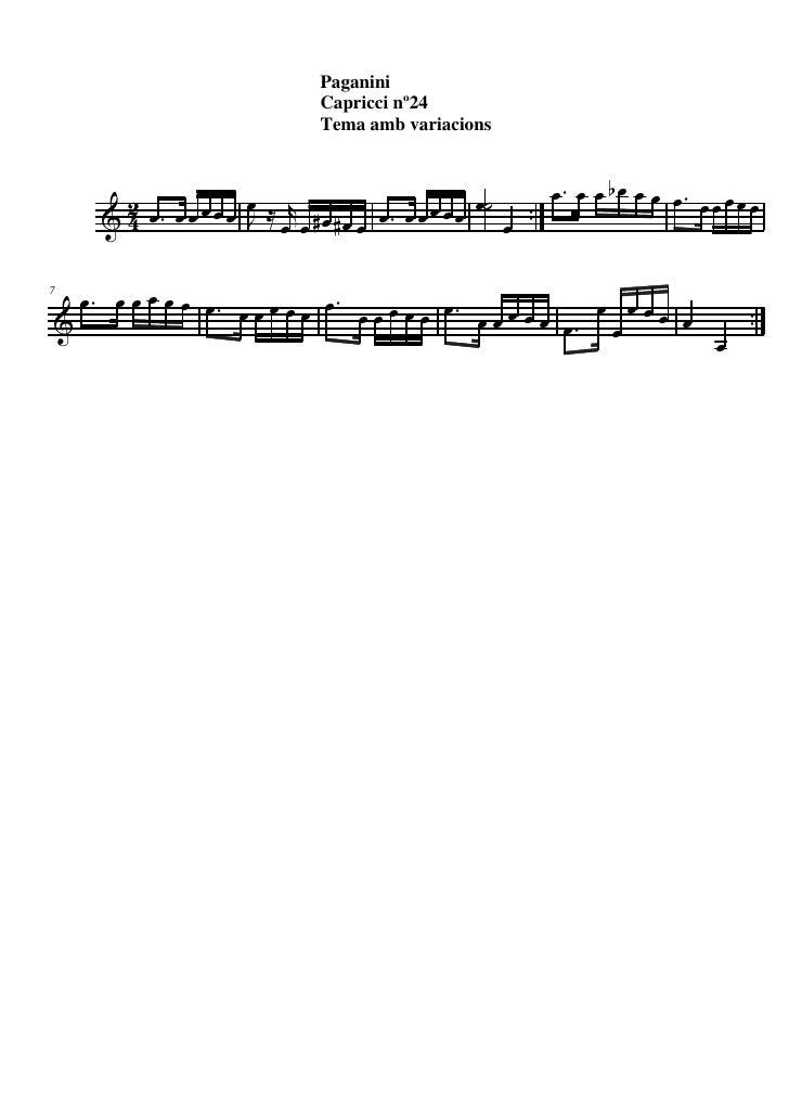 Paganini Tema Capricci N 24 La m