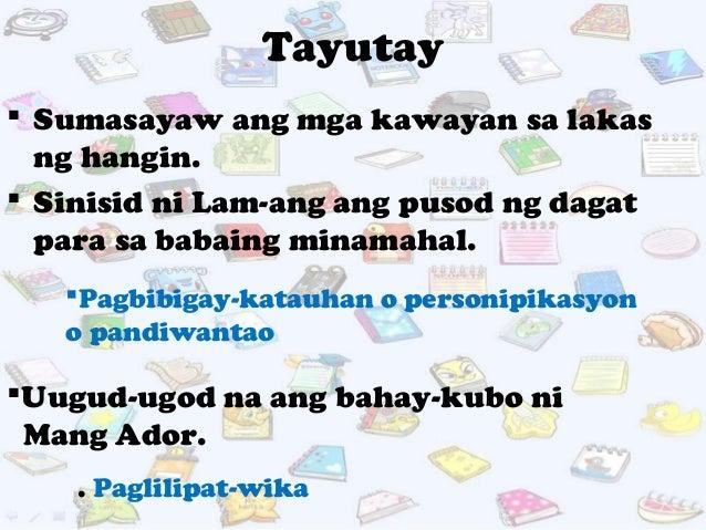mga artikulong pampanitikang mayaman sa tayutay Halimbawa, gagamit ang mga filipino ng mga tayutay (figure of  maunlad, at  abanseng panitikang fillipino—na maipagmamalaki ng.