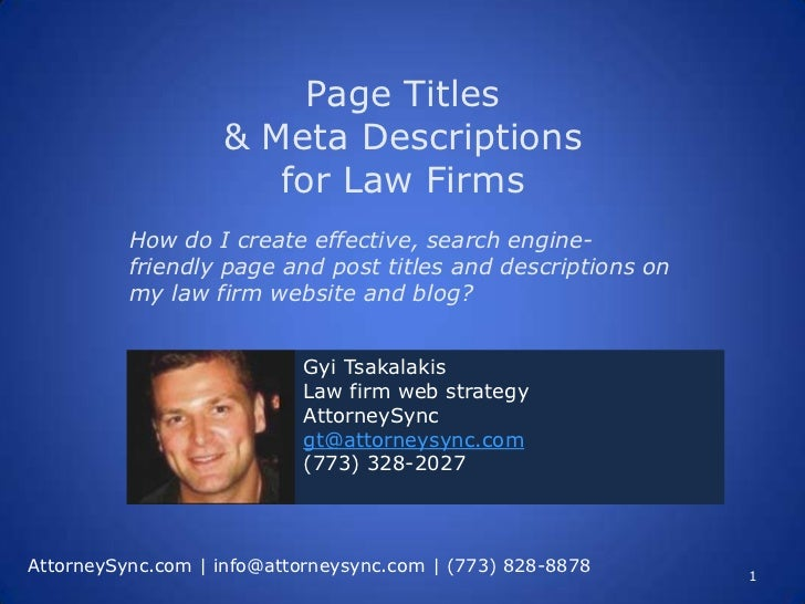Page Titles                   & Meta Descriptions                      for Law Firms          How do I create effective, s...