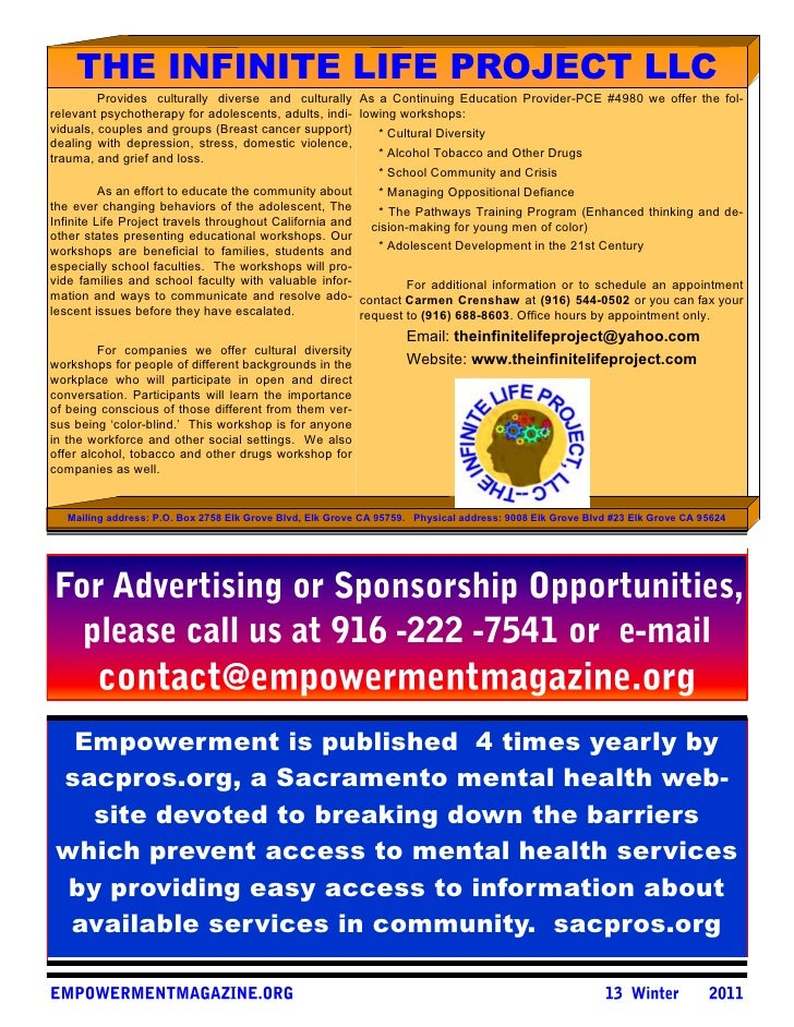 THE INFINITE LIFE PROJECT LLC          Provides culturally diverse and culturally As a Continuing Education Provider-PCE #...