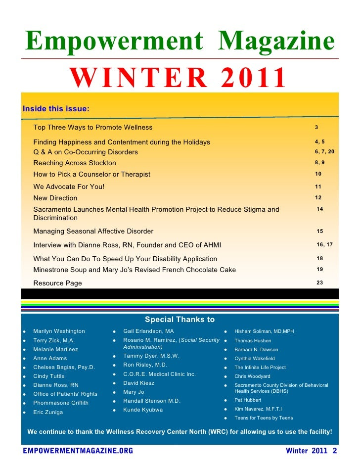 Empowerment Magazine  W I N T E R 2 0 11Inside this issue:  Top Three Ways to Promote Wellness                            ...