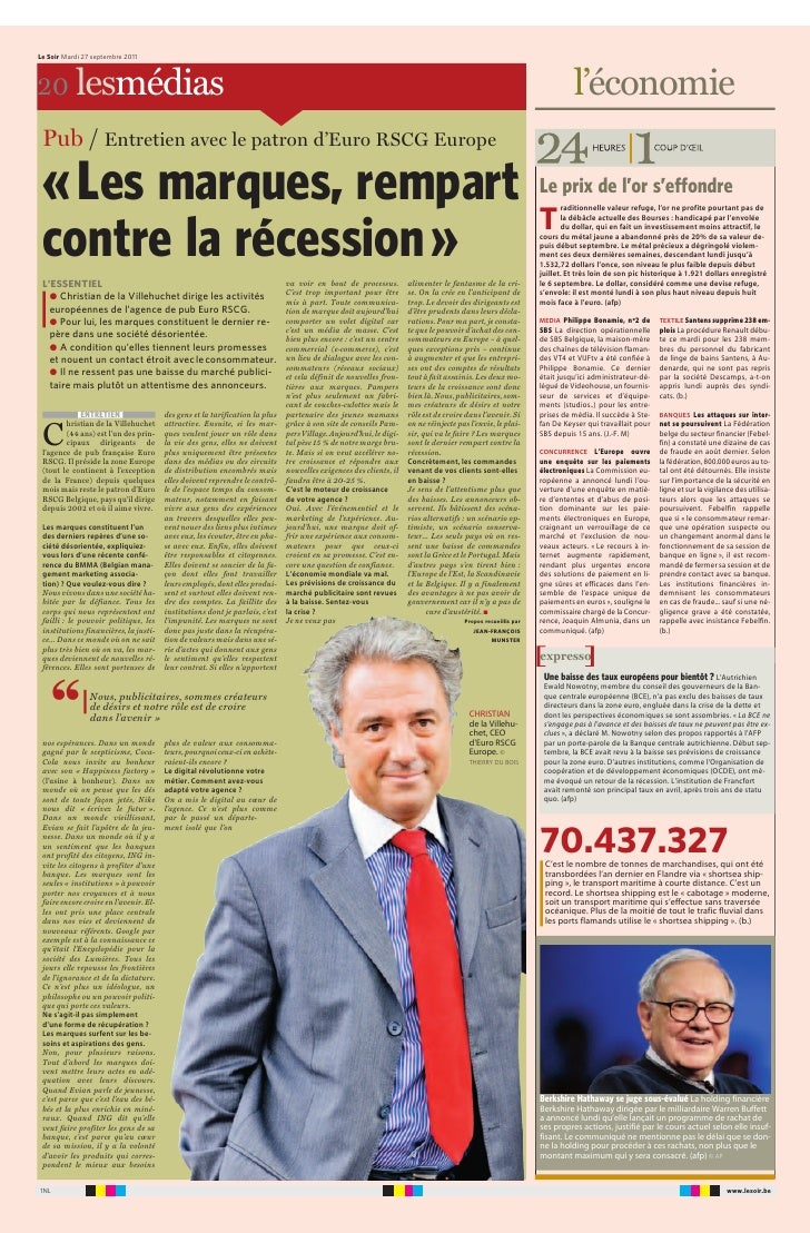 Article Le Soir Les marques, rempart contre la récession