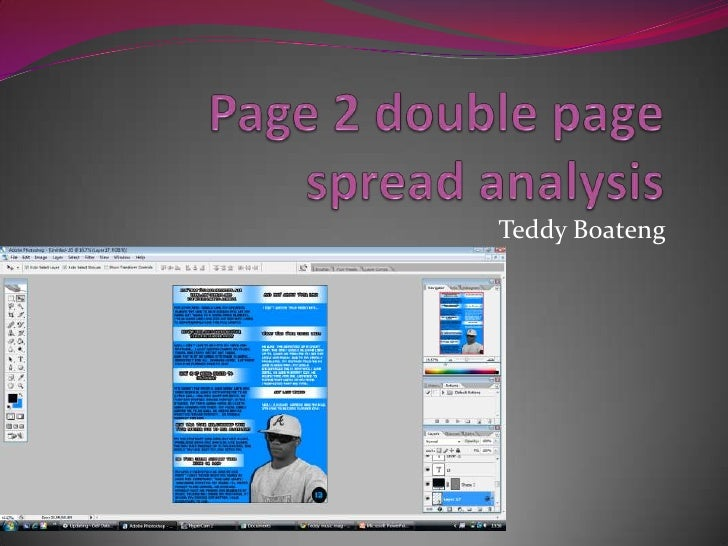 Page 2 double page spread analysis<br />Teddy Boateng<br />