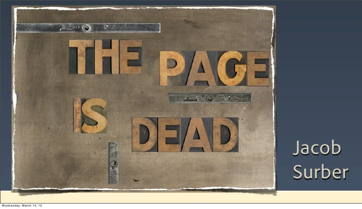 The page is dead - SXSWi 2012