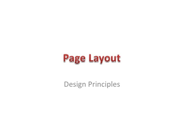 Page Layout And Design Principles