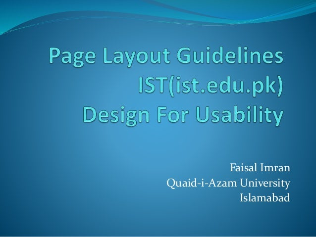 Page layout guidelines