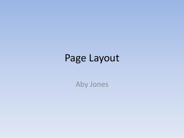 Page layout task 1