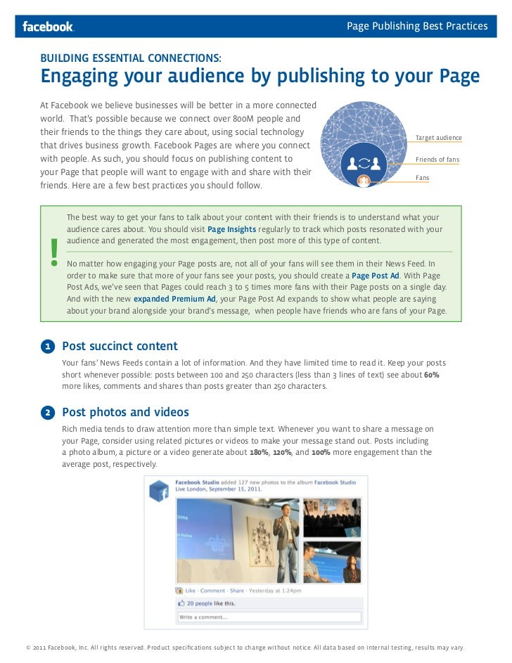 Page Publishing Best Practices    BUILDING ESSENTIAL CONNECTIONS:    Engaging your audience by publishing to your Page    ...
