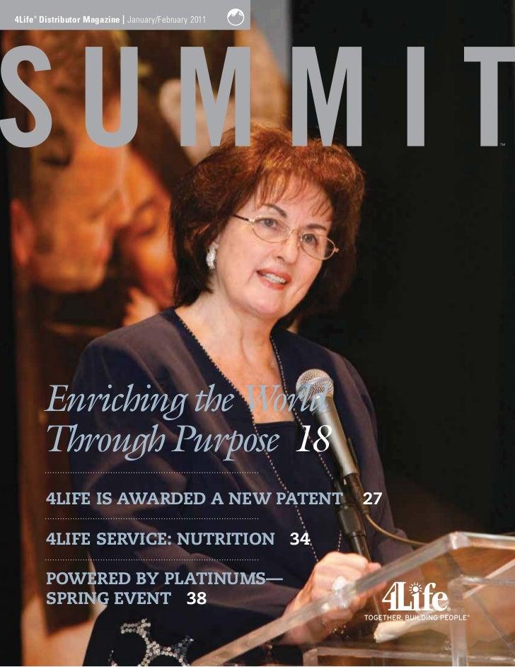 4Life Distributor Magazine | January/February 2011    ®        Enriching the World        Through Purpose 18        4LIFE ...