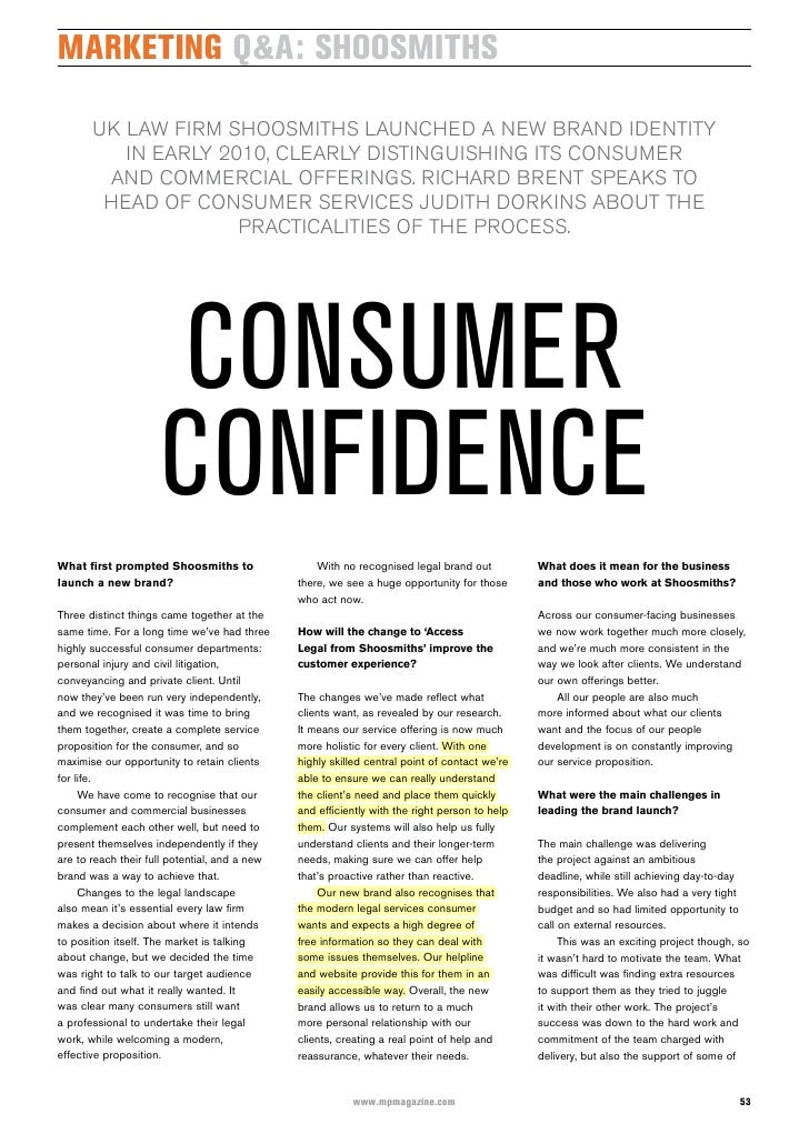 marketing Q&a: shoosmiths         uK law firm shOOsmiths launChed a new brand identity           in early 2010, Clearly di...