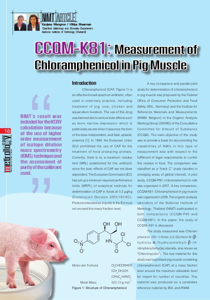 CCQM-K81 : Measurement of Chloramphenicol in Pig Muscle