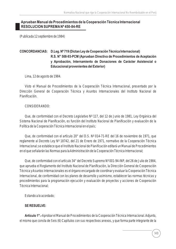 Normas Legales de la Cooperación Internacional No Reembolsable - Parte 2