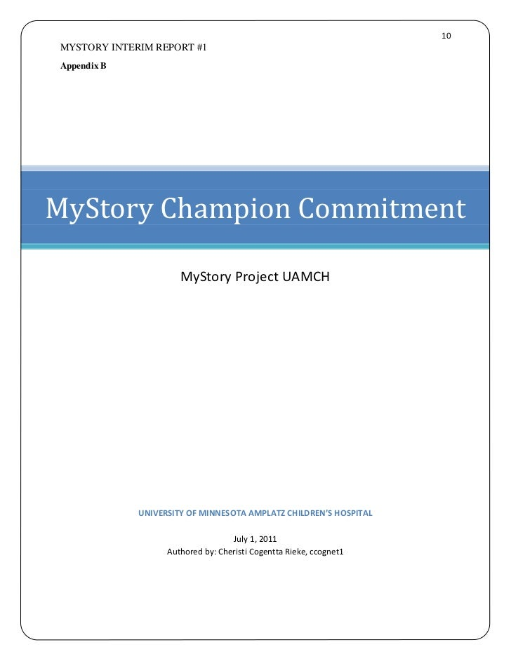 10MYSTORY INTERIM REPORT #1Appendix BMyStory Champion Commitment                      MyStory Project UAMCH             UN...
