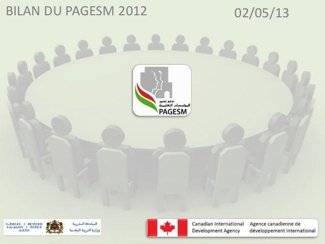 BILAN DU PAGESM 2012  02/05/13
