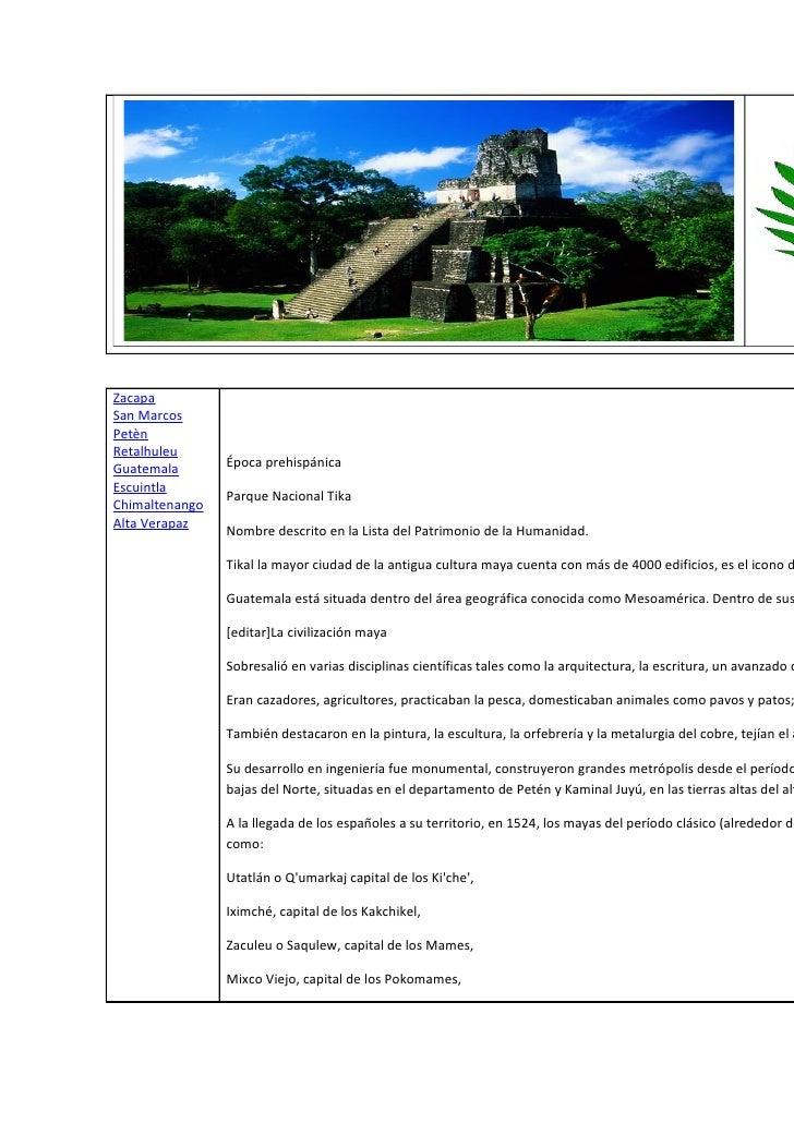 ZacapaSan MarcosPetènRetalhuleuGuatemala       Época prehispánicaEscuintla                Parque Nacional TikaChimaltenang...