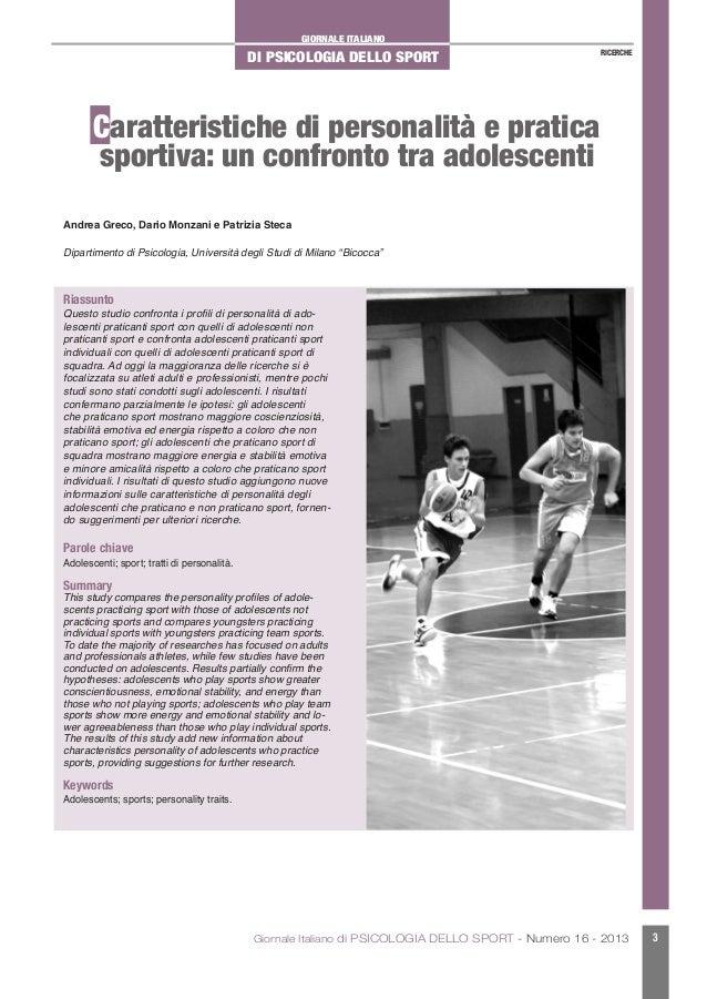 GIORNALE ITALIANODI PSICOLOGIA DELLO SPORTGiornale Italiano di PSICOLOGIA DELLO SPORT - Numero 16 - 2013 3RICERCHECaratter...