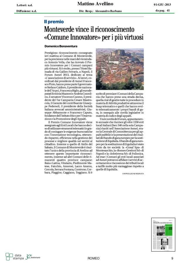 Mattino Avellinoda pag. 4101-GIU-2013Diffusione: n.d.Lettori: n.d.Dir. Resp.: Alessandro BarbanoROMEO 9
