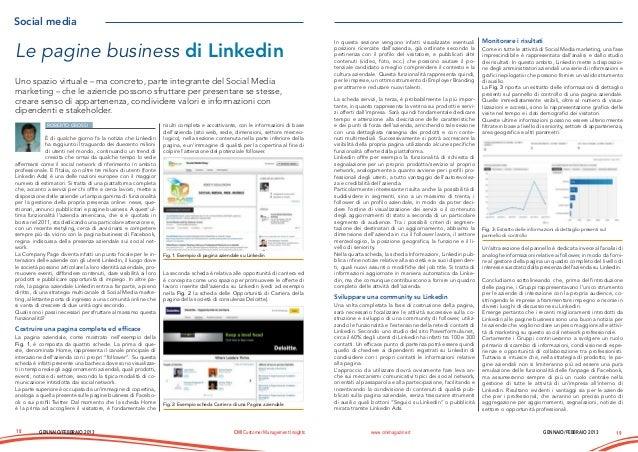 Le pagine business di Linkedin - articolo CMI Gennaio e Febbraio 2013