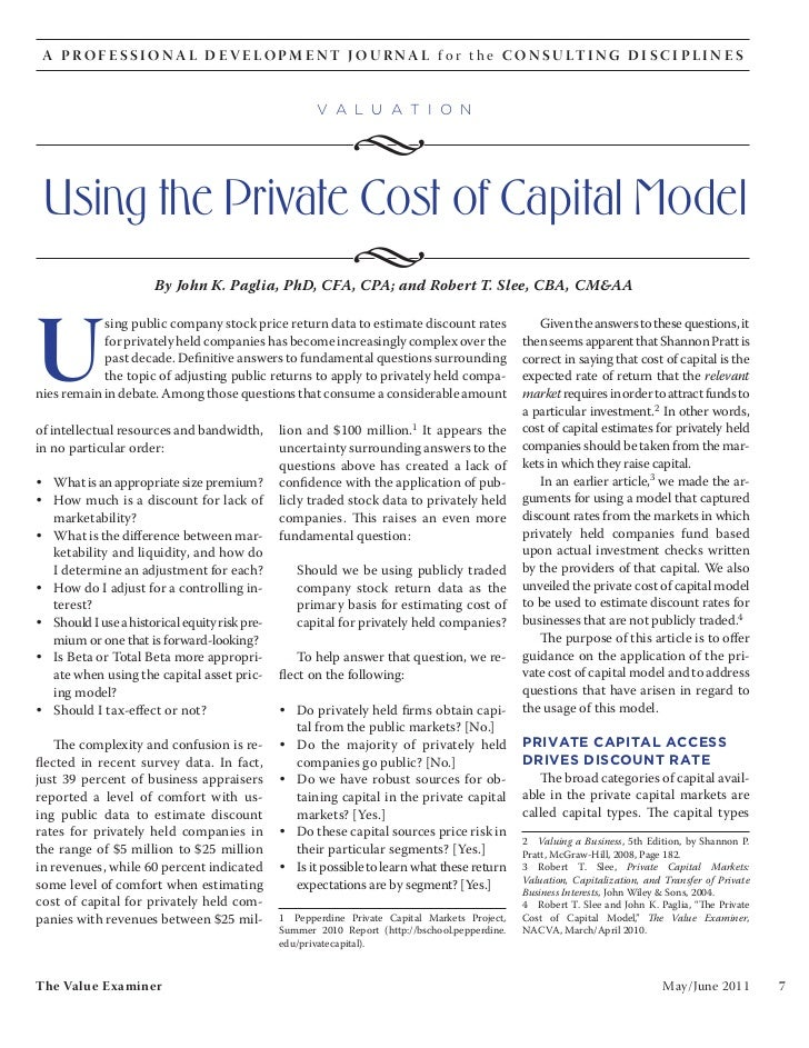 Using the Private Cost of Capital Model