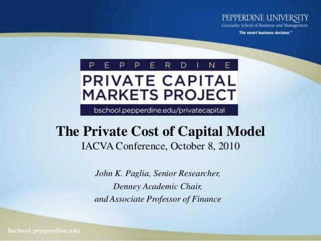 Pepperdine Private Cost of Capital 10.08.10