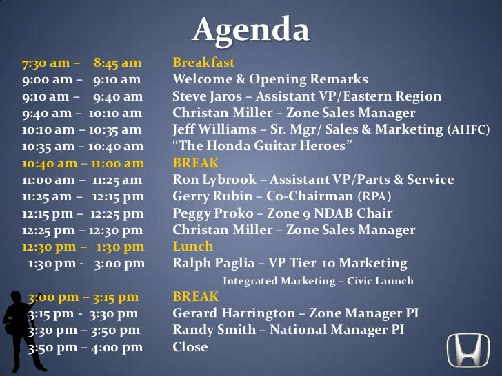 Agenda<br />7:30 am –    8:45 amBreakfast<br />9:00 am –   9:10 amWelcome & Opening Remarks<br />9:10 am –    9:40 amSt...