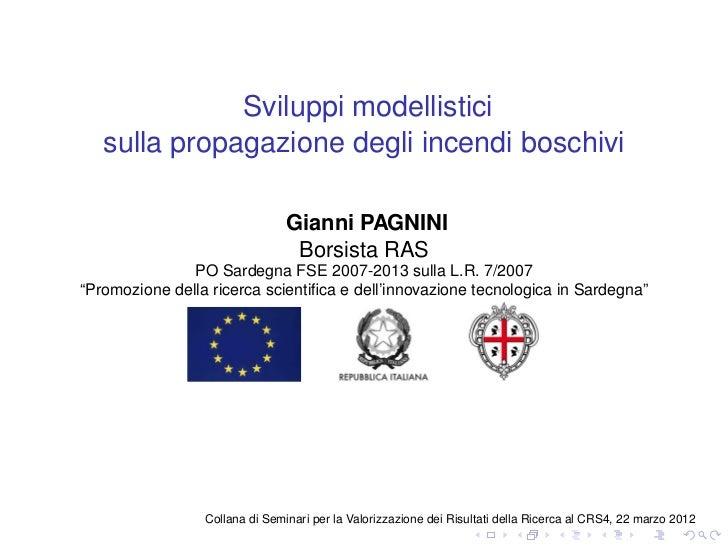 Sviluppi modellistici   sulla propagazione degli incendi boschivi                                Gianni PAGNINI           ...