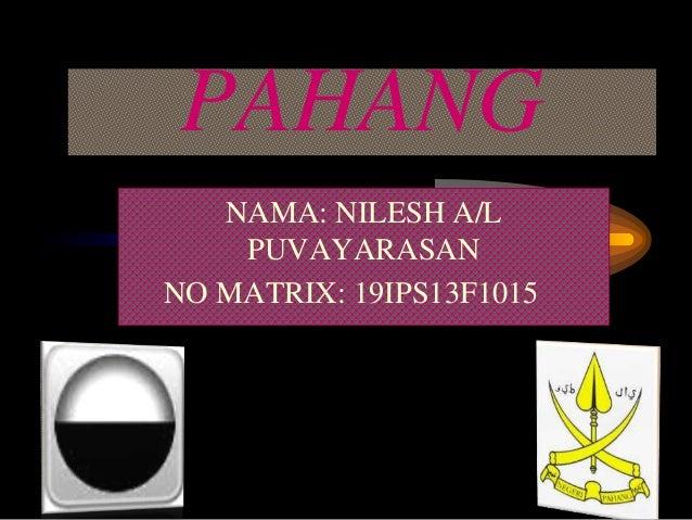 PAHANG NAMA: NILESH A/L PUVAYARASAN NO MATRIX: 19IPS13F1015