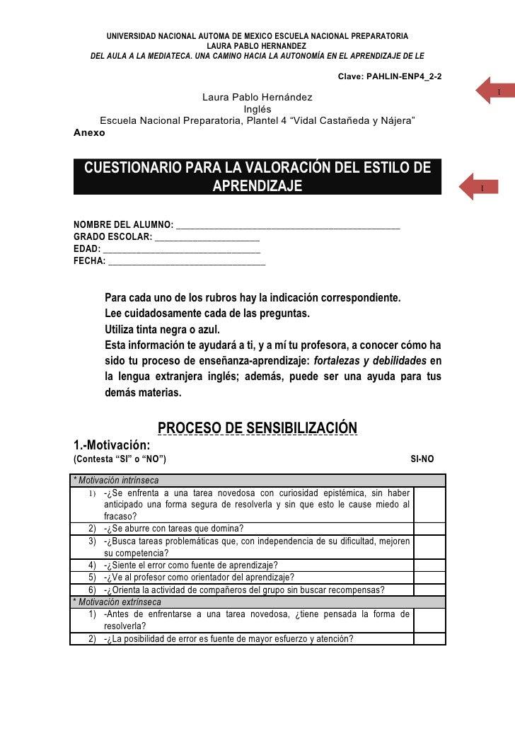 UNIVERSIDAD NACIONAL AUTOMA DE MEXICO ESCUELA NACIONAL PREPARATORIA                                LAURA PABLO HERNANDEZ  ...