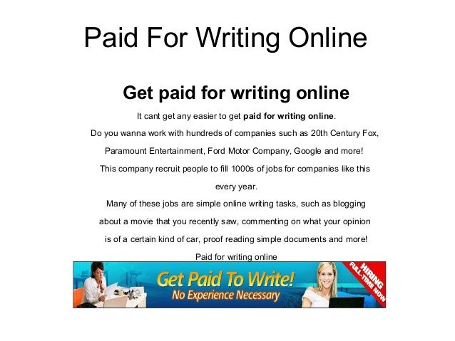 Paid for writing online