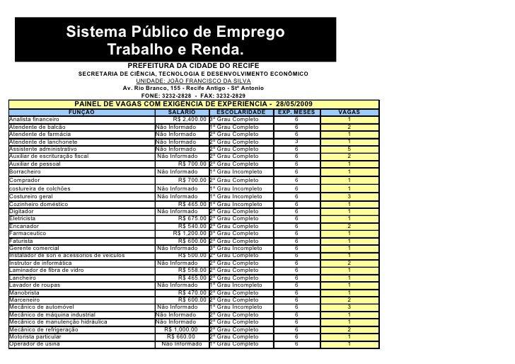 Sistema Público de Emprego                          Trabalho e Renda.                                              PREFEIT...