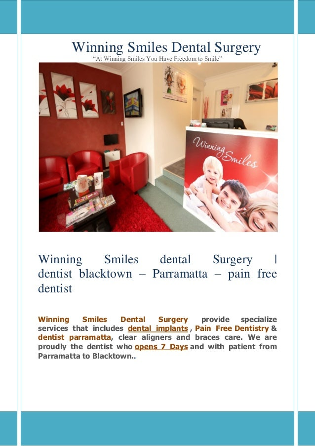 "Winning Smiles Dental Surgery ""At Winning Smiles You Have Freedom to Smile"" Winning Smiles dental Surgery   dentist blackt..."