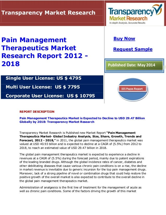 pain management therapeutics market global Global pain management therapeutics market: snapshot pain is invariably around whenever a body is suffering from diseases, which can be of multiple types including fibromyalgia, stomach ulcer, osteoarthritis, chronic arthritis, diabetic neuropathy, and cancer.