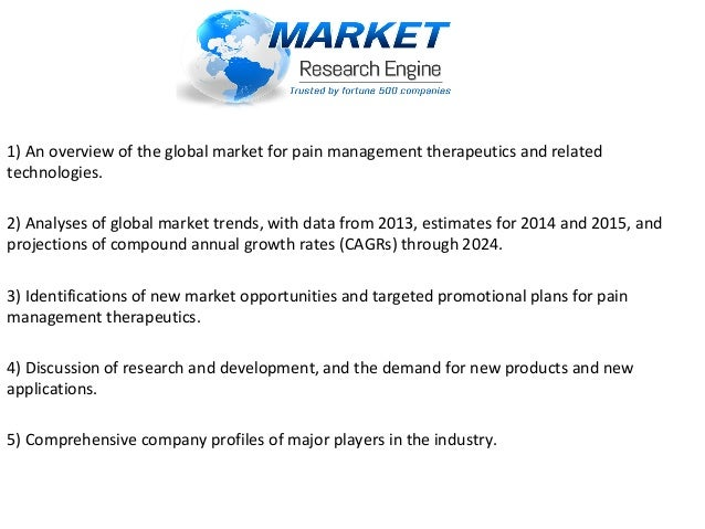 pain management therapeutics market global The competition in the global pain management therapeutics market is intense owing to the presence of leading players with diversified products, states.