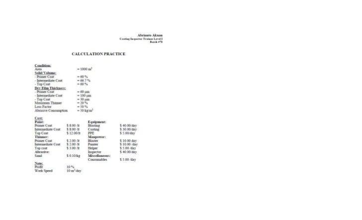 Paint Calculation Practice & Report (AA)