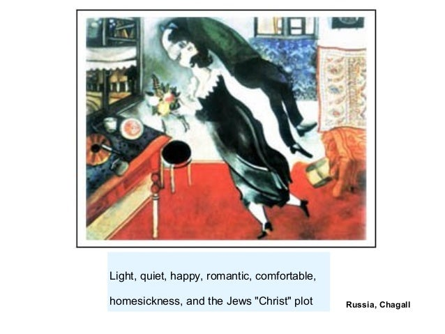 "Russia, Chagall Light, quiet, happy, romantic, comfortable, homesickness, and the Jews ""Christ"" plot"