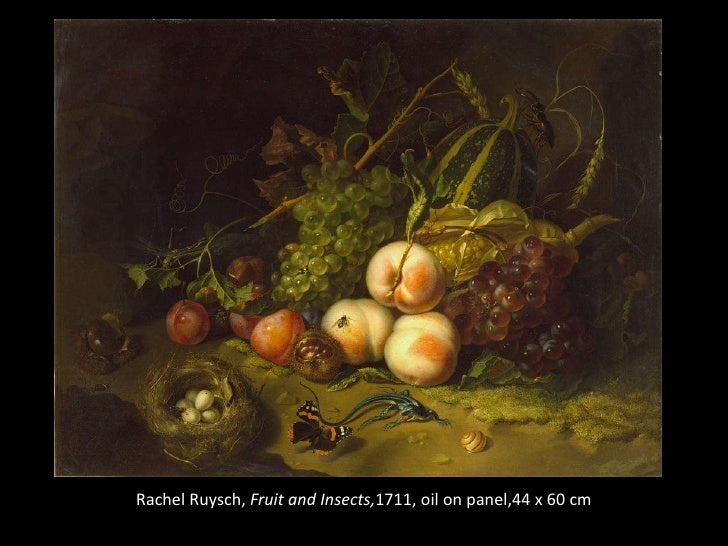 Rachel Ruysch<br />Fruit and Insects<br />1711<br />oil on panel<br />44 x 60 cm<br />Rachel Ruysch, Fruit and Insects,171...