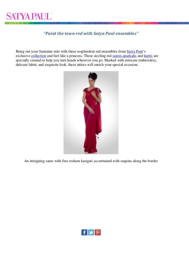 Paint the town red with satya paul ensembles