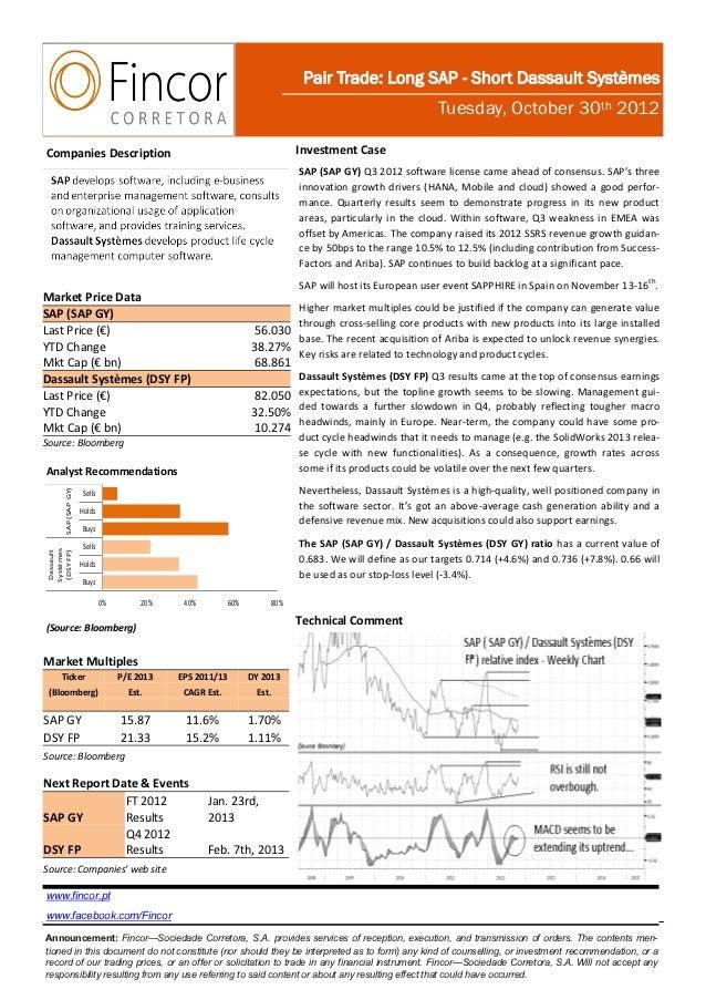 Pair trade   long sap vs. short dassault systèmes