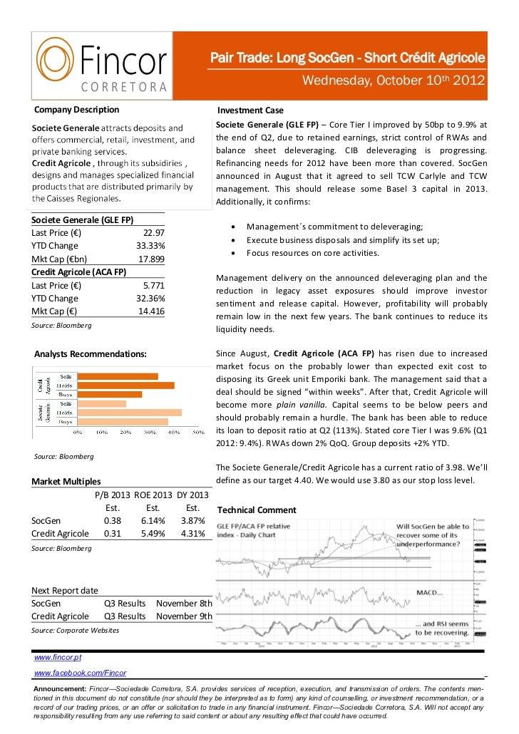 Pair Trade: Long SocGen - Short Crédit Agricole                                                                           ...
