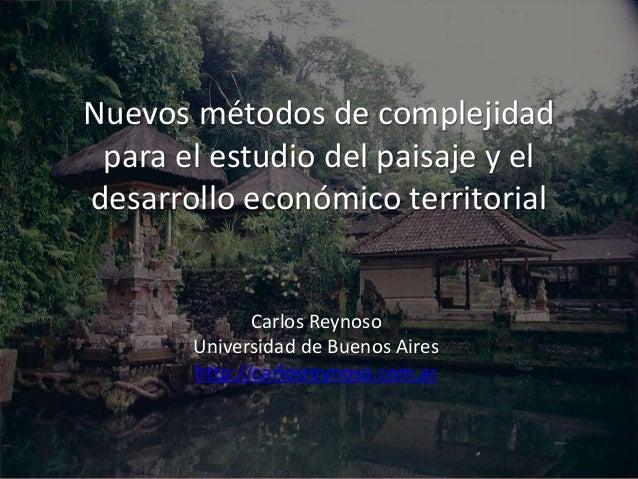 Nuevos métodos de complejidad  para el estudio del paisaje y el  desarrollo económico territorial  Carlos Reynoso  Univers...