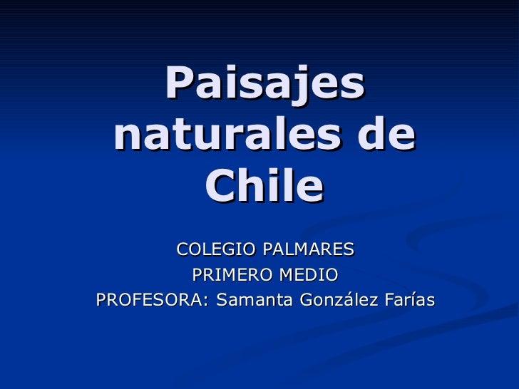 Paisajes naturales de Chile COLEGIO PALMARES PRIMERO MEDIO PROFESORA: Samanta González Farías