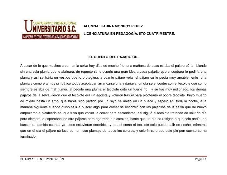ALUMNA: KARINA MONROY PEREZ.                                         LICENCIATURA EN PEDAGOGÍA. 5TO CUATRIMESTRE.         ...