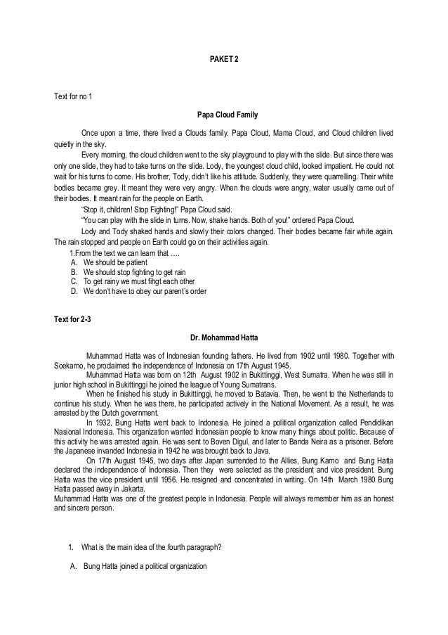 Soal Simulasi UN bahasa inggris 2014