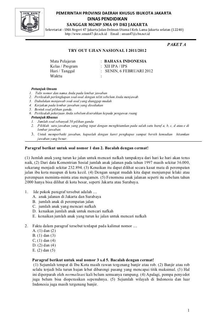 Prediksi UN 2012 Bahasa Indonesia