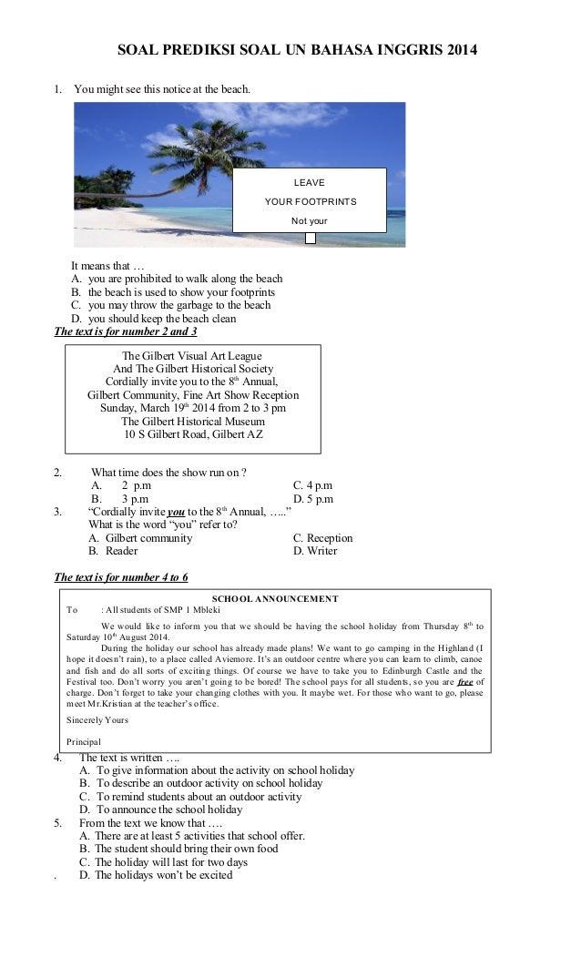 Soal Prediksi Un Smp Bahasa Indonesia Myideasbedroom Com