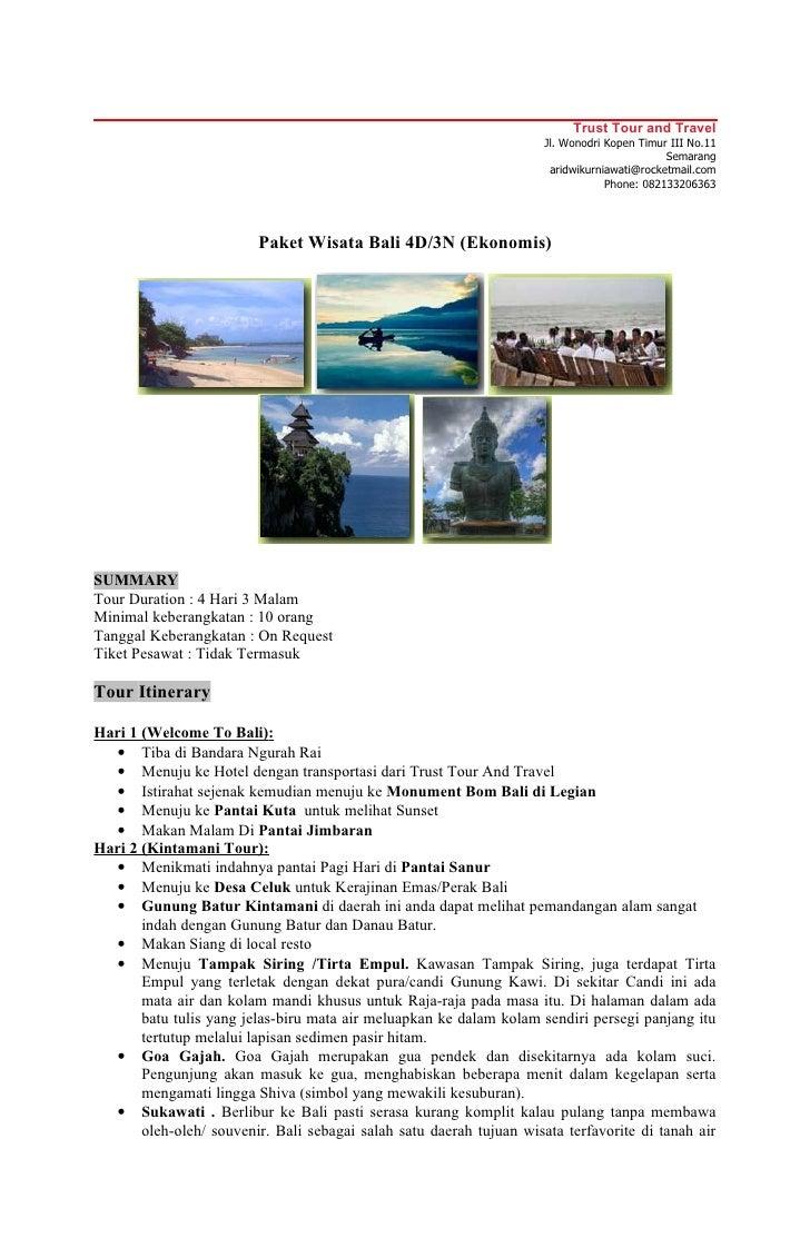 Paket Wisata Bali Ekonomis 4 hari 3 Malam