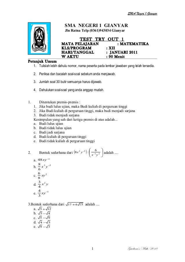 Paket try out 1  2011 2012